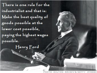 henry fords efficiency wages A little over a century ago, henry ford doubled the minimum pay of his workers to $5 a day when other employers followed suit, it became clear that ford had sparked a chain reaction higher pay .