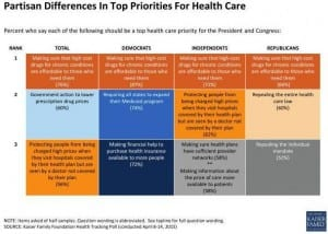 Partisan Differences in Top Priorities